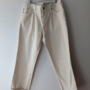 Club Monaco Cropped Pleated Jeans White Size 29